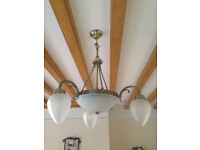 Light fittings (pair) - glass and brass