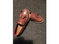 Brown kicker loafers size 38