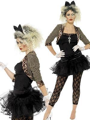 Ladies 1980s 80's Madonna Celebrity Fancy Dress Costume Outfit 12-26 Plus Size - 80s Costumes Plus Size