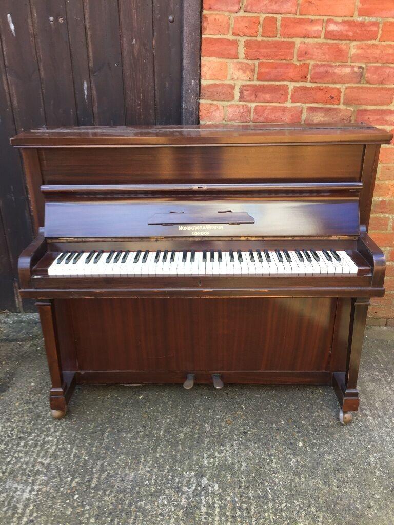 Monington weston 6 octave small upright piano double for Small upright piano dimensions