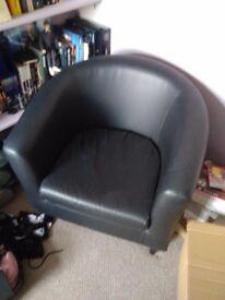 Faux leather black tub chair