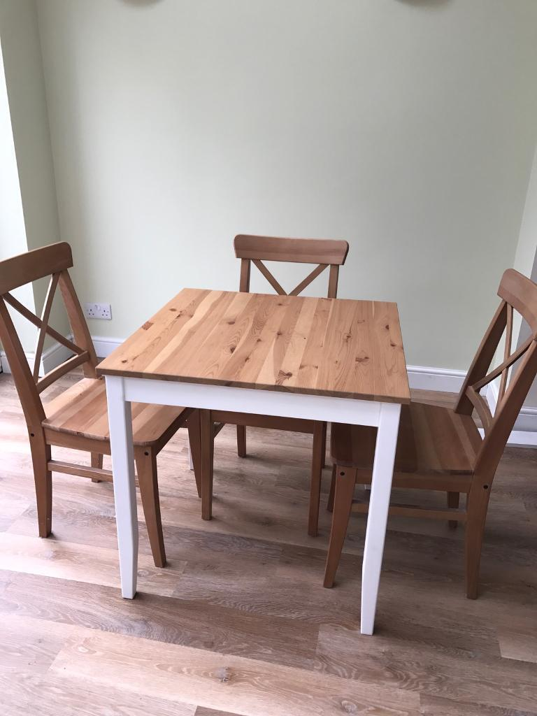 breakfast table 3 chairs ikea lerhamn ingolf in rugby warwickshire gumtree. Black Bedroom Furniture Sets. Home Design Ideas