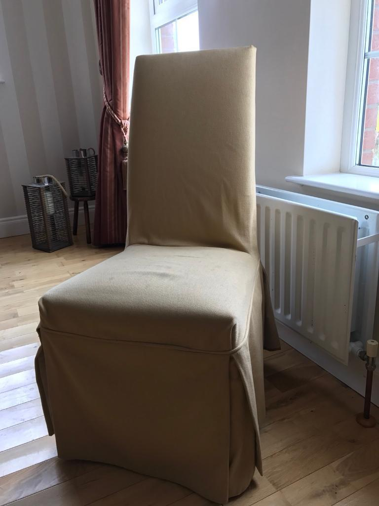 Laura Ashley Cream Gold Tie Dining Chair Covers X4 20 For