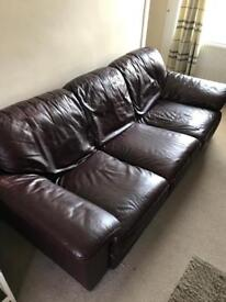 Large leather sofa and matching armchair