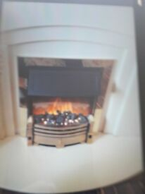 Real marble fireplace and electric fire