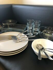 Plate, bowl, and cutlery set