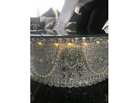 Bespoke wedding cake crystal diamanté and pearl light up mirrored stand