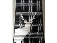 Black Stag Deer Tartan Check Rug Soft Short Pile - 60 X 110CM - New 2 Available