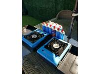 2 x camping stove and 10 NEW gas canisters