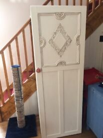 Very pretty tall shabby chic cupboard painted in white/gold