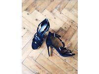 High heels black sandals wedding party night SIZE 6/ EUR 39