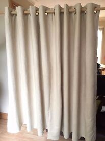 "Pair of suedette ""biscuit"" coloured eyelet curtains - Width: 90"" Drop: 54"""