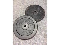 20kg cast iron weight plates pair