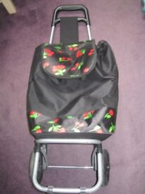 Black cherry pattern shopping trolley
