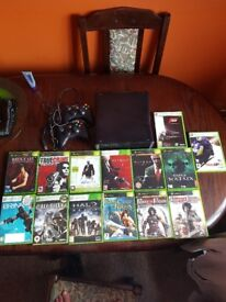XBOX 360 S, wireless controllers & 15 games