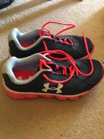 Girls under armour trainers, navy with pink laces. Size 3