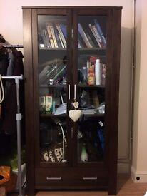 Glass-door Shelves/ Bookshelves - Dark Brown Colour