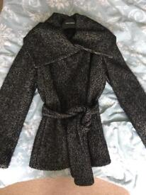 Belted large collared woollen coat size 10