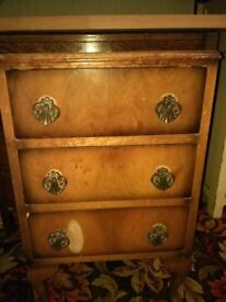 Vintage Walnut Chest of 3 Bedside Drawers