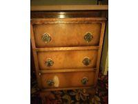 Vintage Walnut Chest of 3 Bedside Drawers