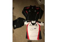 Cooke rugby club kit, top, shorts and quarter zip. All brand new, without tags. Age 11-12 yrs.