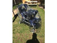 Triple / double / twin buggy, pram, pushchair, with buggy board /third seat
