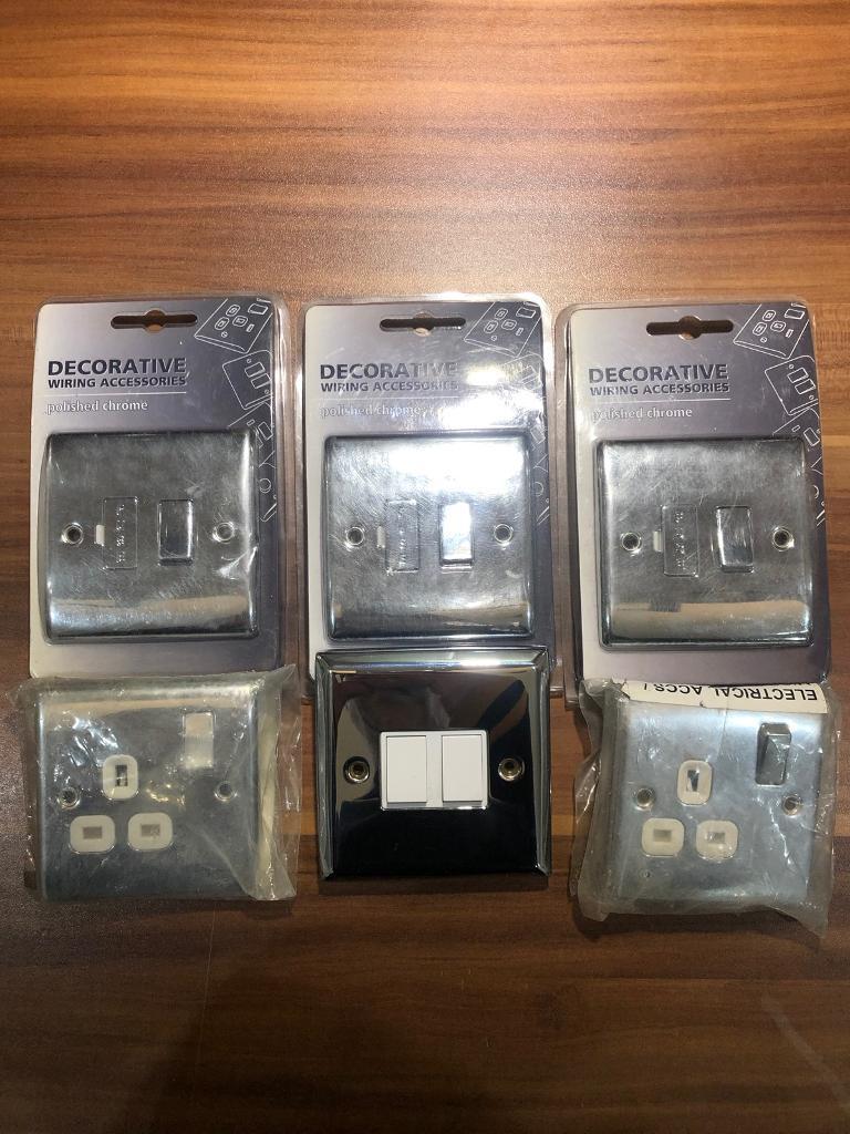 Chrome 13amp Fcu X3 Plug Sockets X2 Double Light Switch X1 In