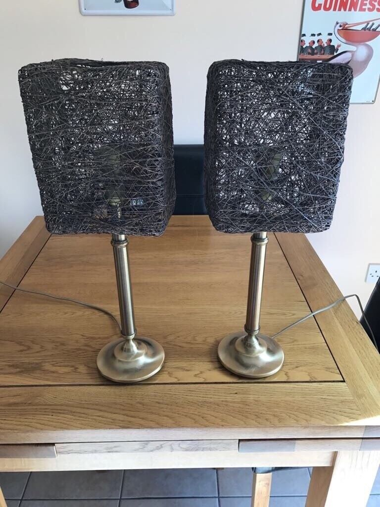 Bronze Bedside Table Lamp Pair