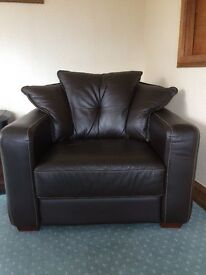 Brown Italian Leather armchair with Fan cushion back and contrasting stitching. From DFS, Perfect