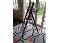 Wooden step ladders 3 steps and platform 5ft tall