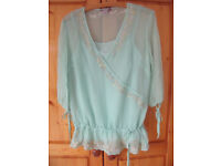 TOP & UNDER-CAMISOLE: Monsoon light eau de nil/green ¾ length sleeve, silk. Size 12. £5 ovno for set