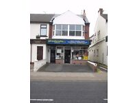 Large shop & very large flat above. Buy or rent. Full rent rebate available. Huge potential.