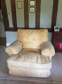 3 Piece Suite Feather filled cushions in Gold chenille