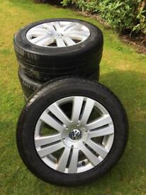 """VW Alloy Wheels 16"""" Set 4 (112 X 5) 12 Spoke 215 55 16 Legal Tyres"""
