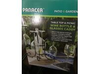 Panacea Wine Bottle & Glasses Caddy