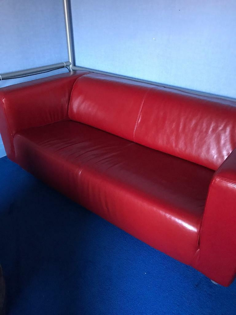 Red leather 2 seater settee