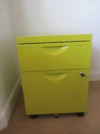 Funky lime green ikea erik lockable storage cabinent on castors
