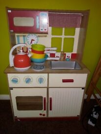 Toy kitchen, kettle and pans