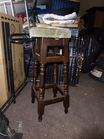 BAR STOOLS X 2 SOLID OAK WITH PADDED GREEN DRAYLON SEAT (COULD BE RECOVERED)