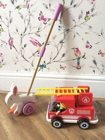 Hape wooden toys - Walk along Rabbit and Fire Engine