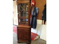 Antique Lounge Mahogany Triangular Display Corner Unit.
