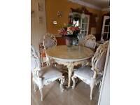 ITALIAN SILIK TABLE AND CHAIRS