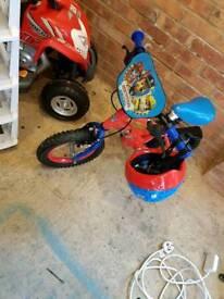 Kids paw patrol bike and helmet