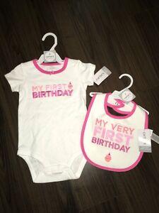 Brand new My First Birthday onesie and bib