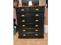 Upcycled pine chest of seven drawers
