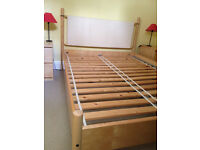 Ikea Double Bed - Pine with White/Cream headboard