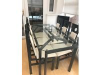 Glass Top Dining Table & Six Chairs