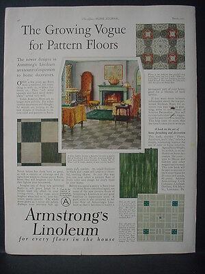 1925 Armstrongs Linoleum Pattern Floors Flooring Vintage Print Ad 11854