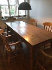 Beautiful country style wooden table and 6 chairs
