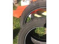 Set of tyres taken off a Harley davidson